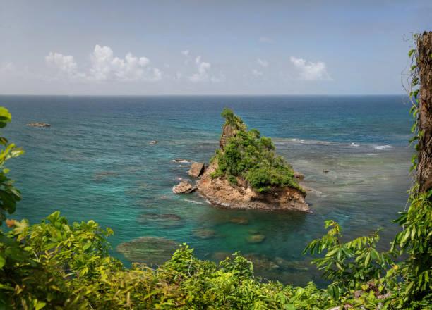 Ein Felsen auf der Atlantikseite von Dominica. – Foto