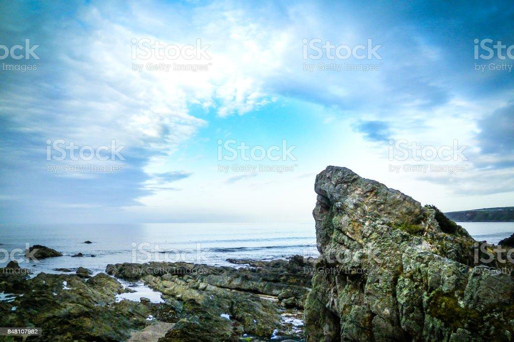 Rock on Scottish beach on the cold northern sea stock photo