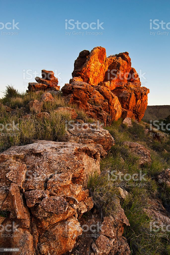 Rock outcrop in Alice Springs, Australia stock photo