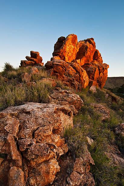 Rock outcrop in Alice Springs, Australia stock photo