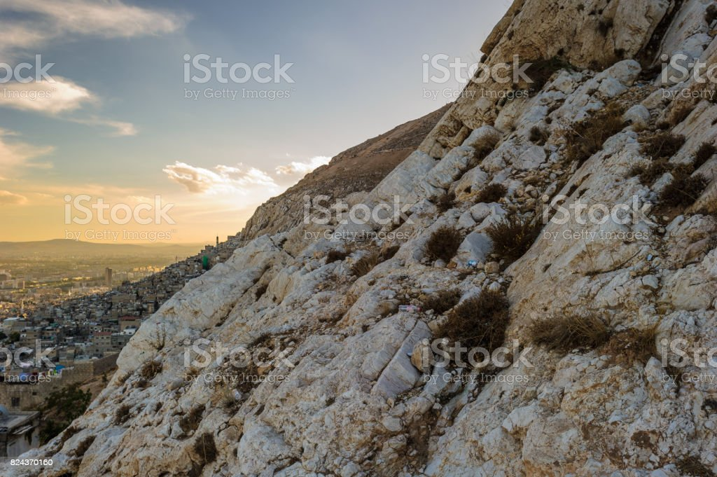 Rock over Damascus, Syria stock photo