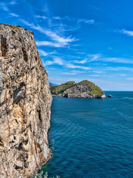 Rock overlooking the sea stock photo