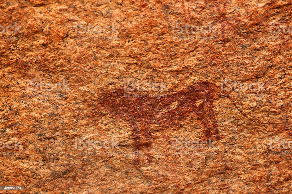 Rock Painting of Lion at Bushman Paradise Spitzkoppe Namibia stock photo