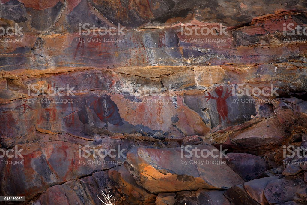 Rock paintings and cave painting in the Caatinga of Brazil stock photo