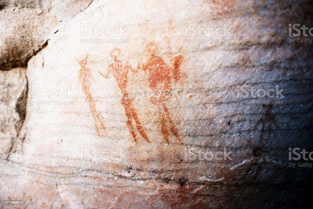 Rock Paintings depicting People royalty-free stock photo
