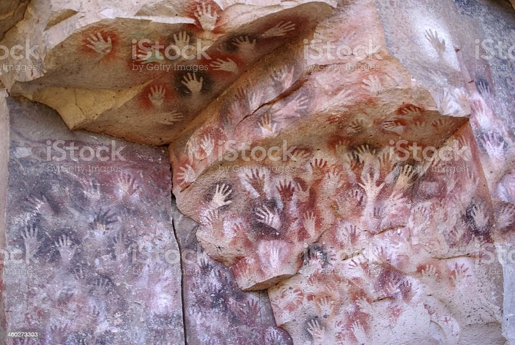 Rock paintings in Patagonia stock photo