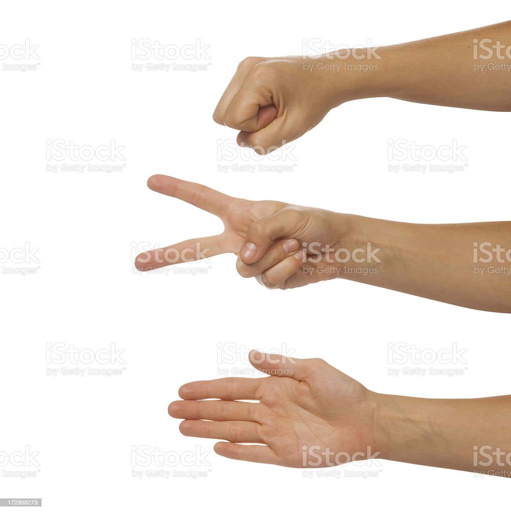 Rock Paper Scissors Hand Game royalty-free stock photo