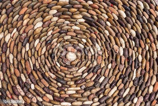 Rock Pebbles in a Swirling Pattern.