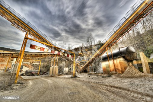 Conveyors in rock quarry.HDR