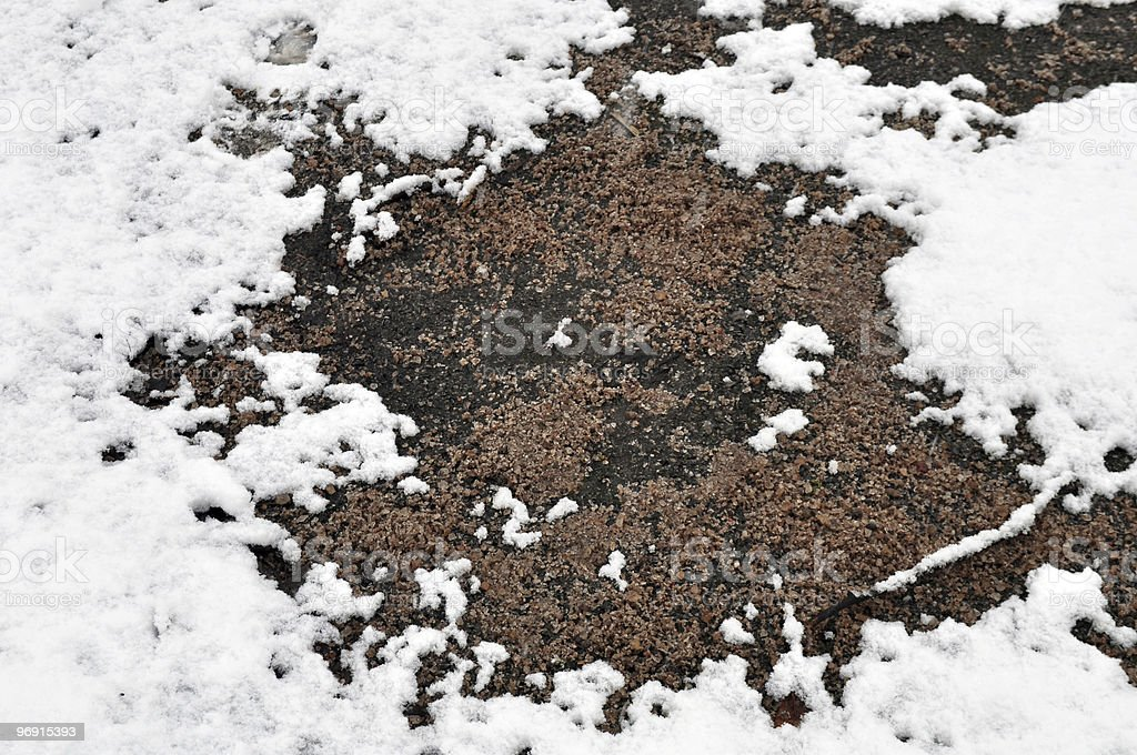 Rock Salt / Grit on snow and ice royalty-free stock photo