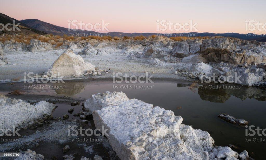 Rock Salt Tufa Formations Sunset Mono Lake California Nature Out stock photo