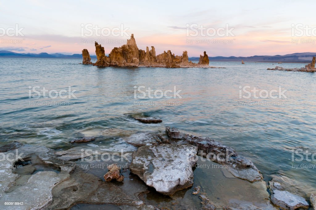 Rock Salt Tufa Formations Sunset Mono Lake California Nature Outdoors stock photo