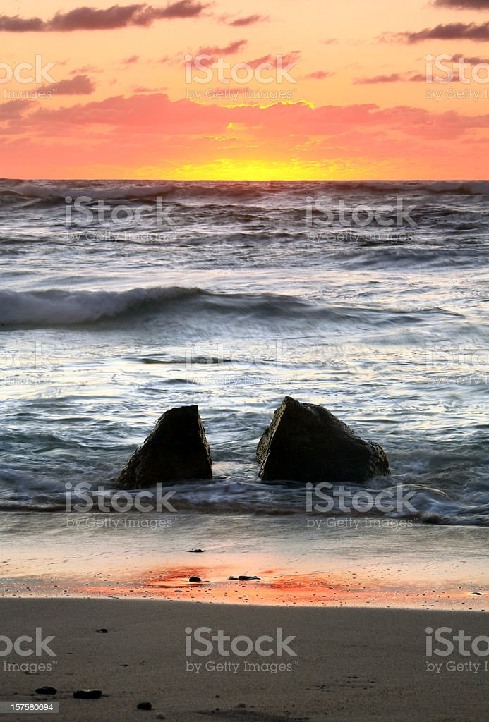 Rock, Sea, and Sunset royalty-free stock photo