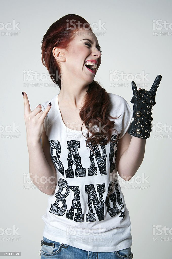 Rock shouting girl stock photo