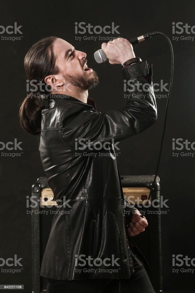 Rock singer stock photo