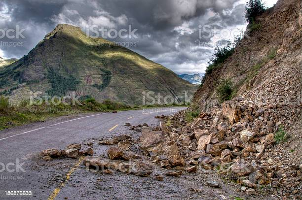 Photo of Rock slide with damage on the road during a storm