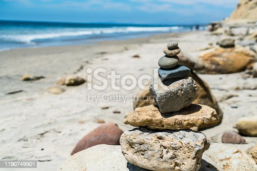 157587490 istock photo Rock Stacks balancing the happiness in your life 1190749901