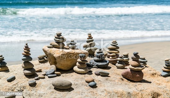 157587490 istock photo Rock Stacks balancing the happiness in your life 1190749930
