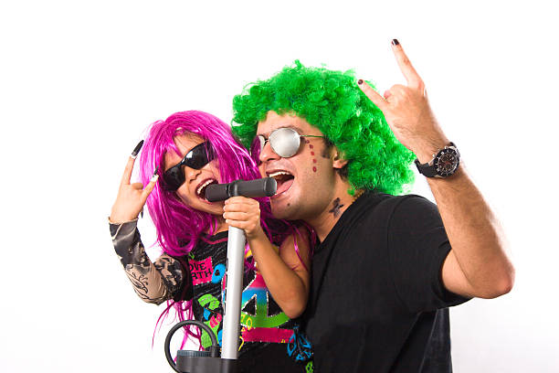 Rock Star  Father And Girl Singing stock photo
