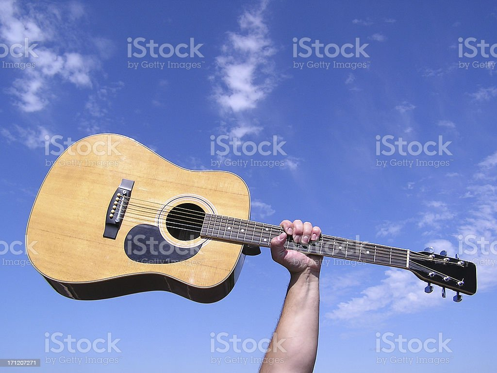 Rock Star Guitar in the Sky royalty-free stock photo