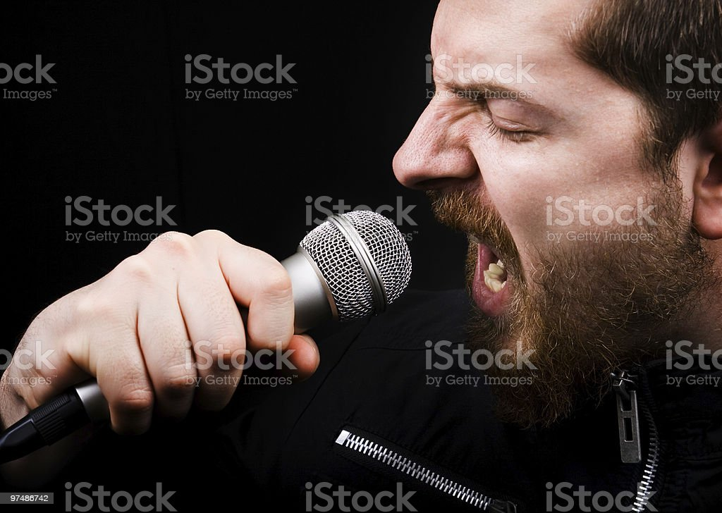 Rock star screaming royalty-free stock photo