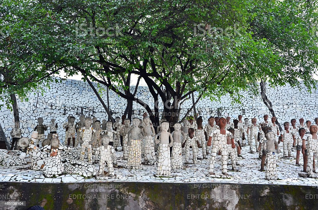 Rock statues at the rock garden in Chandigarh, India. stock photo