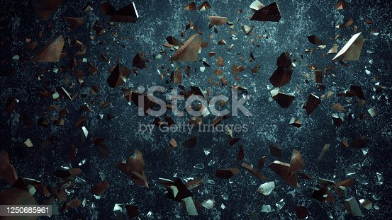 Rock stone and glass broken splash explosion isolated on dirty background