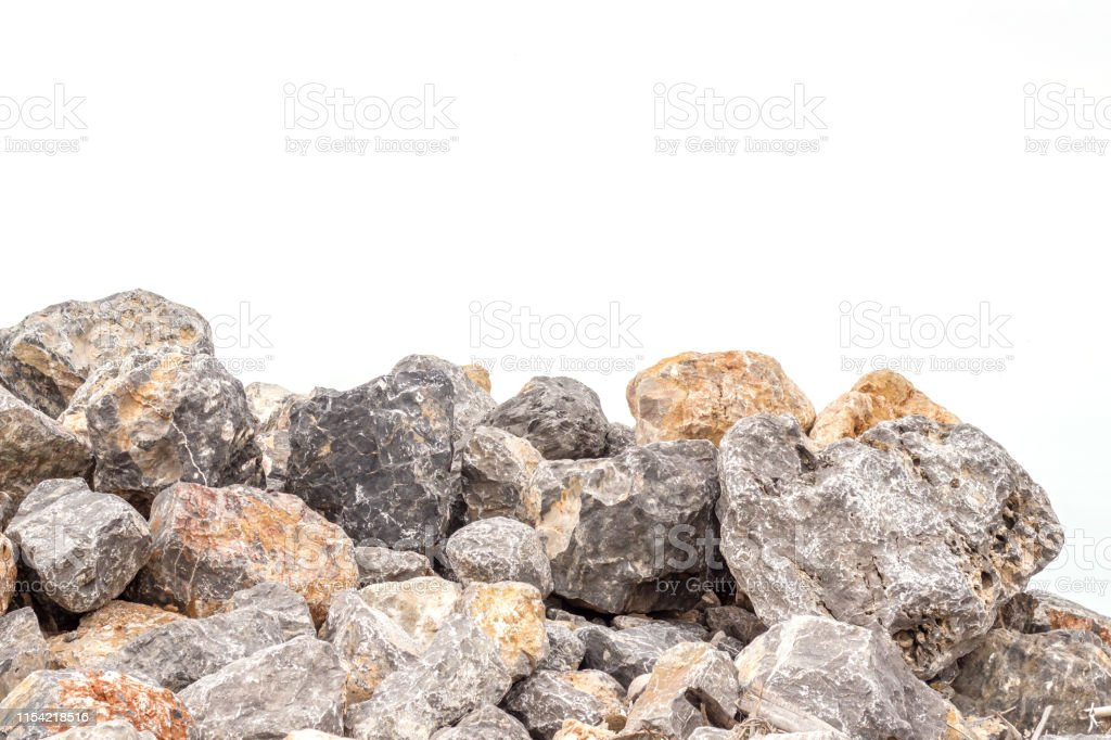 Rock stone isolated on white background.