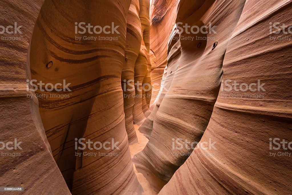 Rock structure of the Zebra slot canyon stock photo