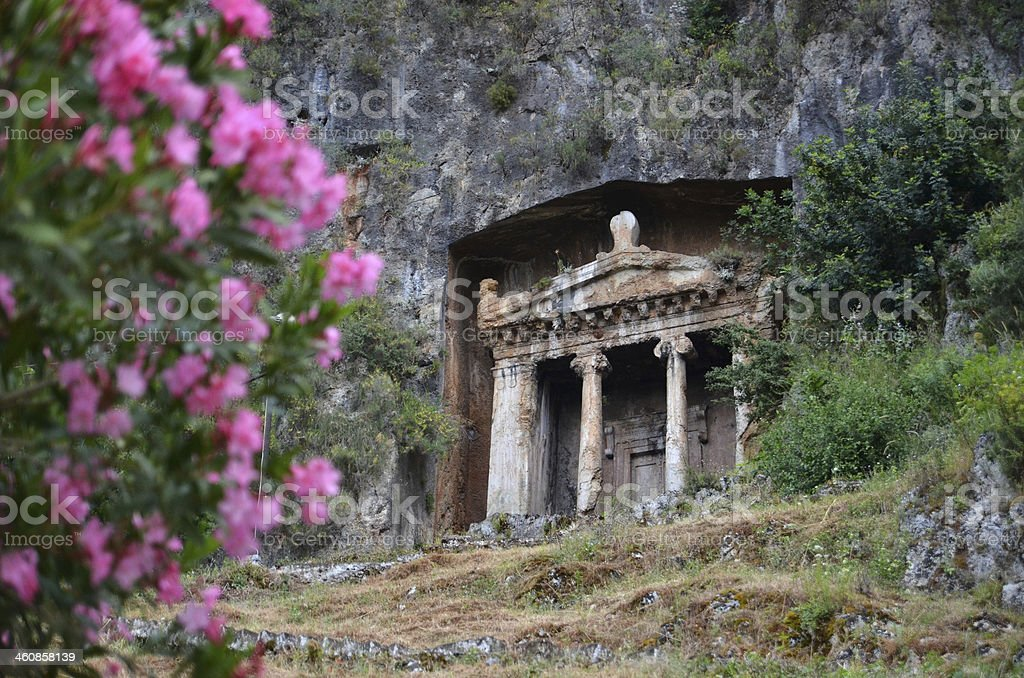 Rock tombs in Fethiye stock photo