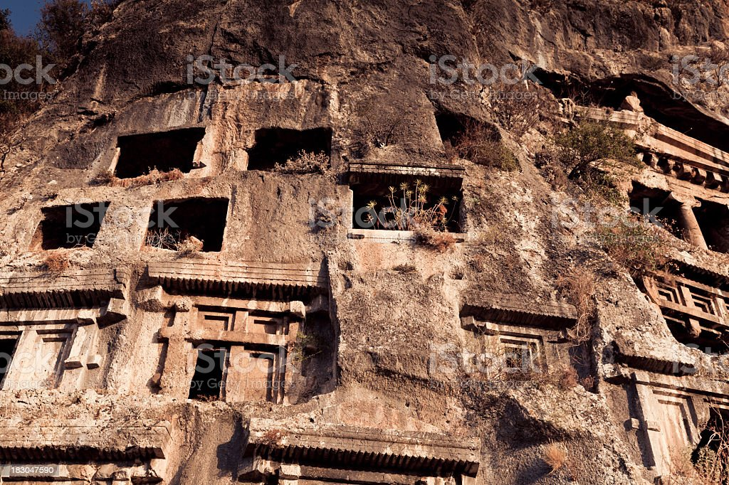 rock tombs in fethiye, turkey royalty-free stock photo
