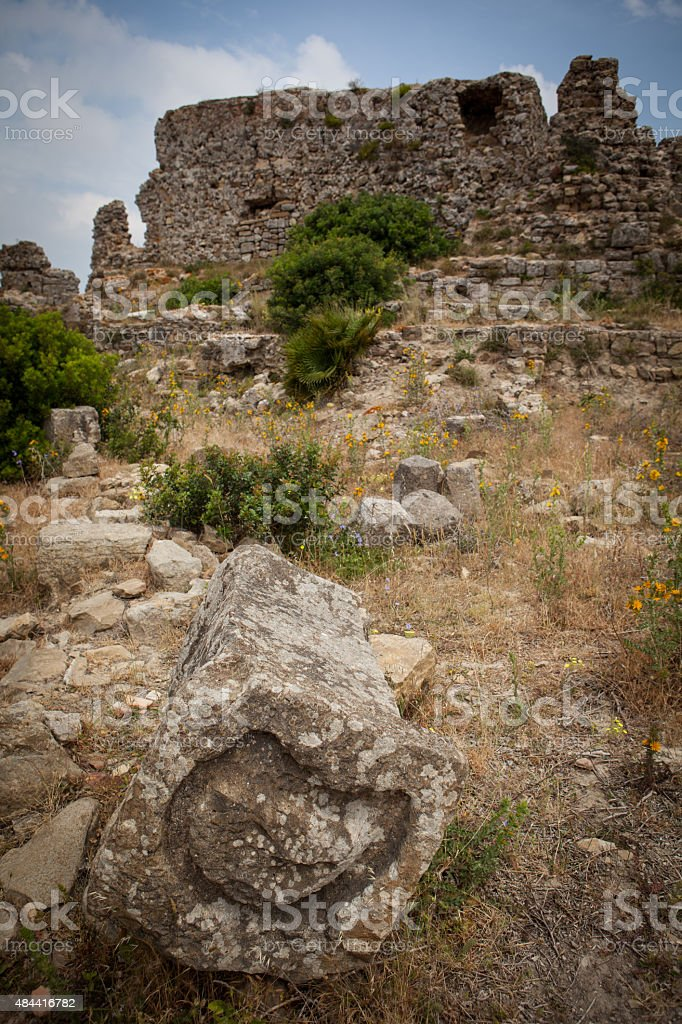 Rock used for sacrifices or slaughtering at Lixus stock photo