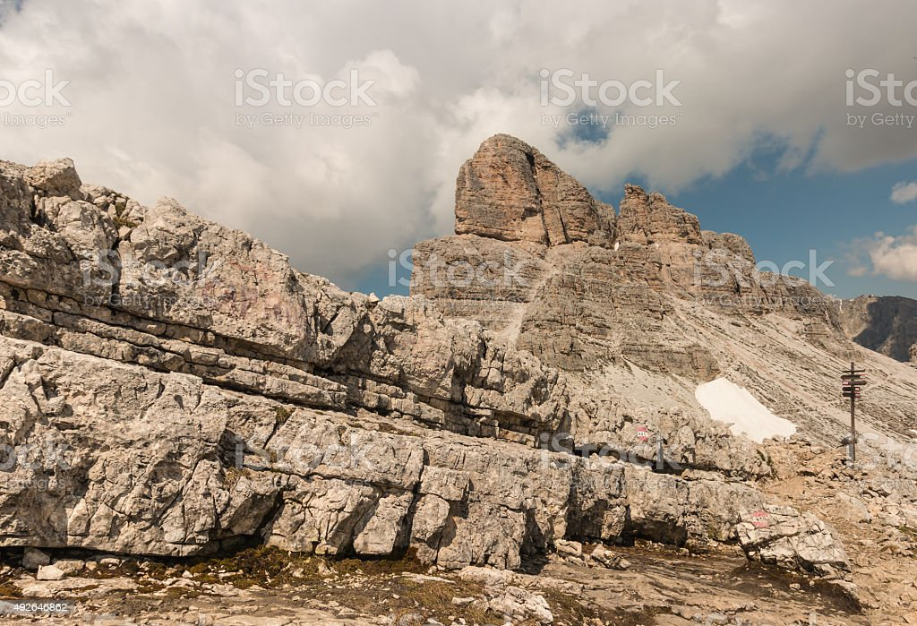 rock wall in Dolomites stock photo