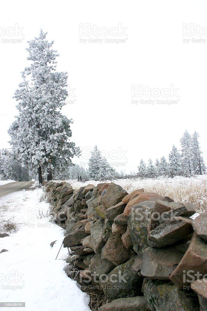 rock wall winter royalty-free stock photo