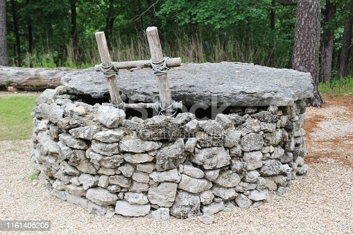 Rock Walled Well with a Ladder and a Rock Top