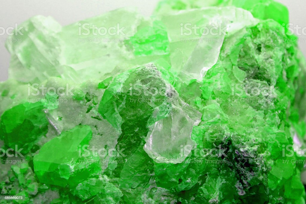 Rock with valuable green mineral just found by geologist royalty-free stock photo