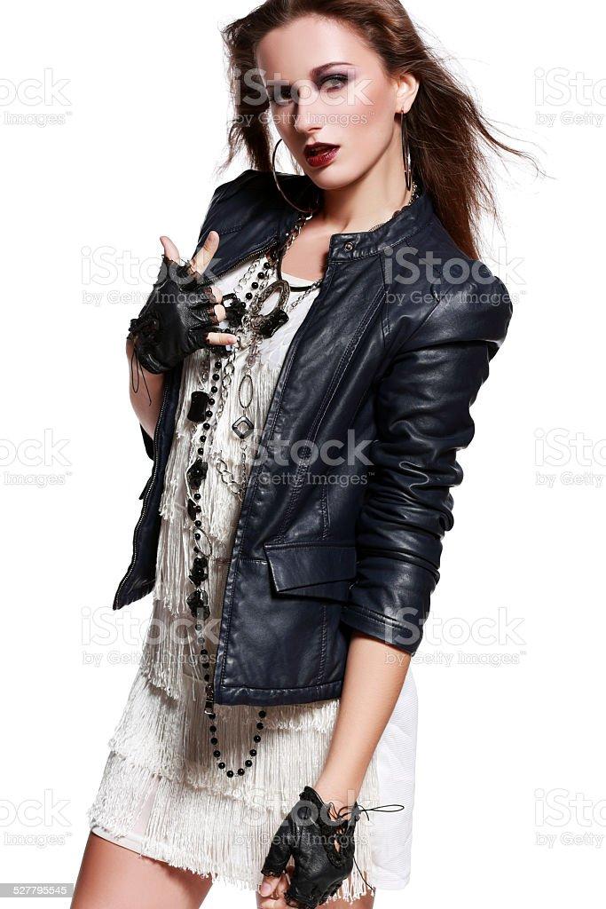 rock woman stock photo
