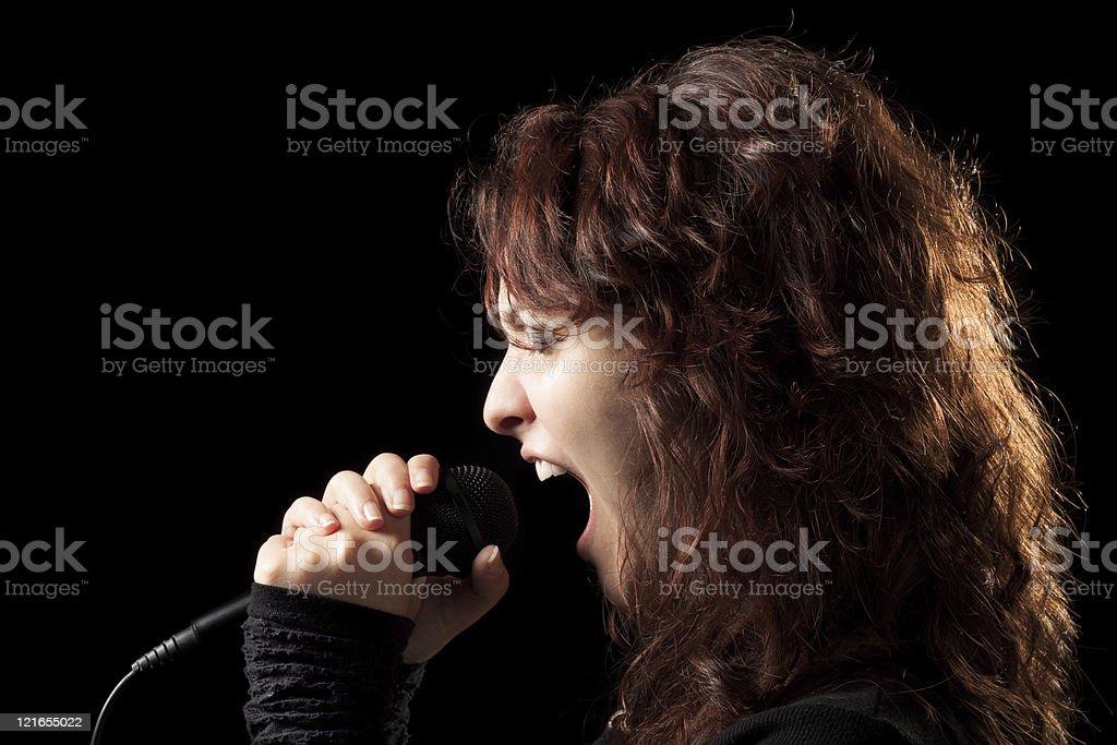 Rock Woman Singer Screaming stock photo