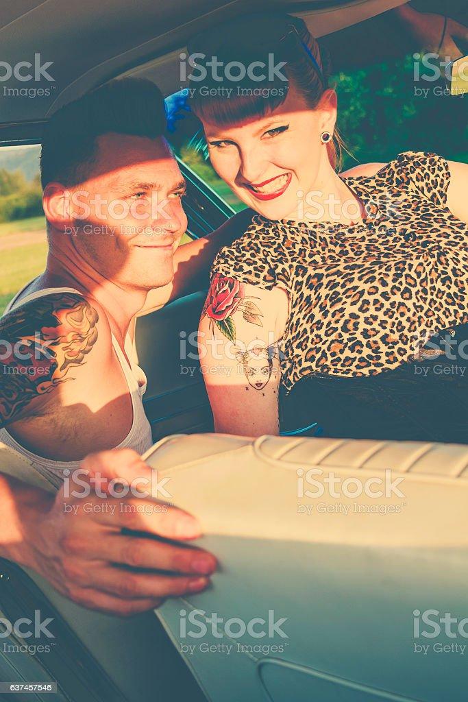 Rockabilly couple stock photo