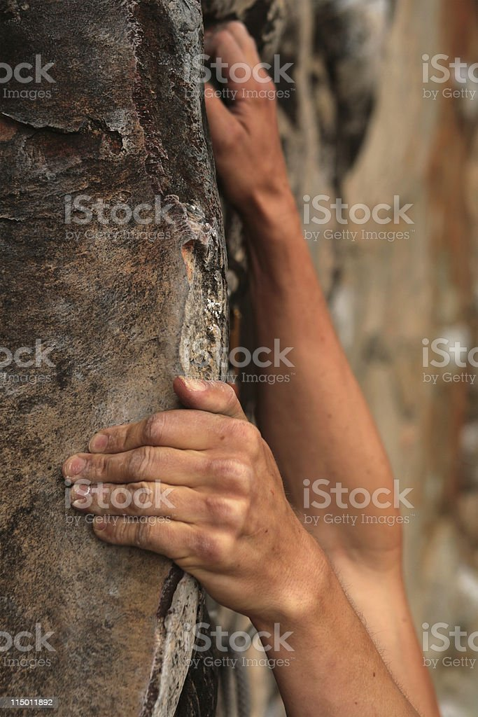Rockclimber's hands royalty-free stock photo