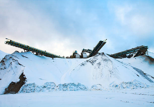 Rock-Crushing Plant in Winter Day stock photo