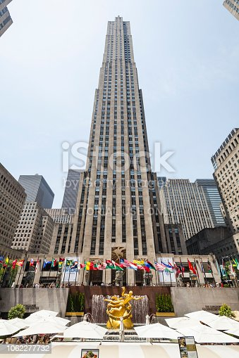 New York City - June 22: Rockefeller Center crowded with tourists in New York on June 22, 2013