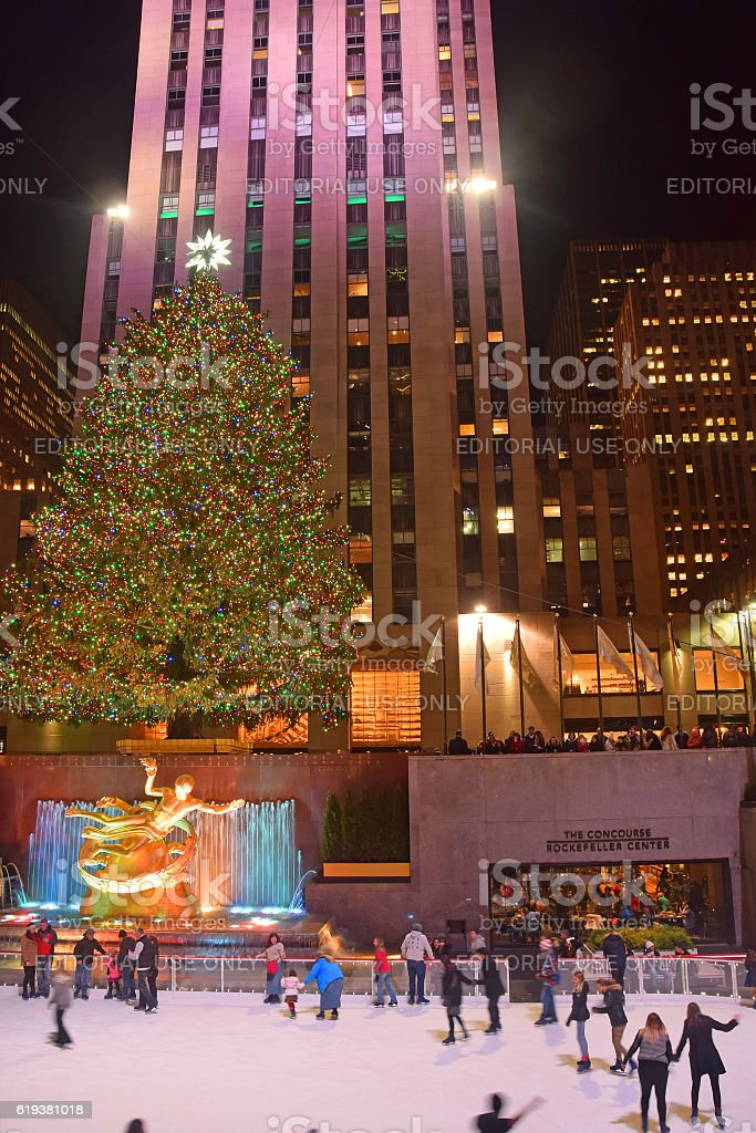 Rockefeller Center ice skating New York stock photo