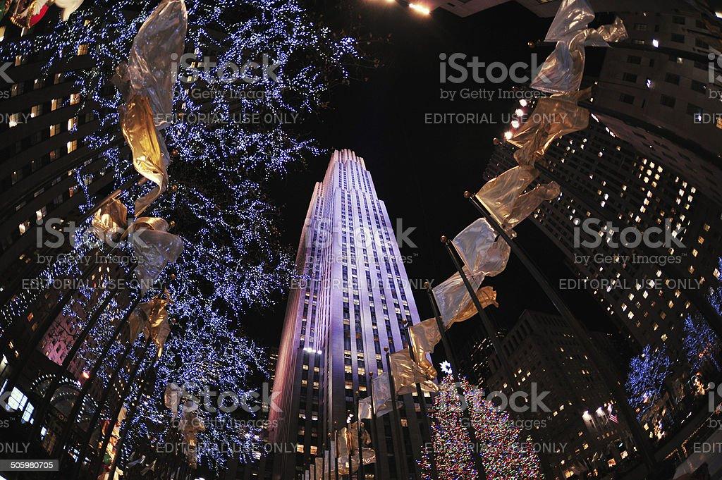 Rockefeller Center in December stock photo