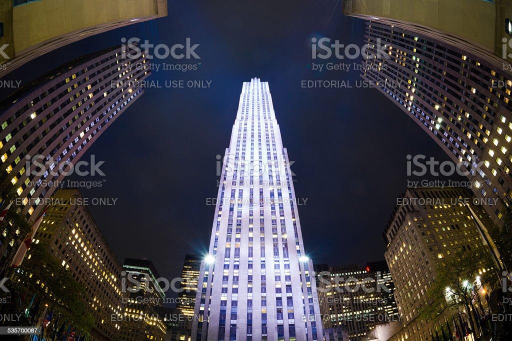 Rockefeller Center in Manhattan of New York City at night stock photo
