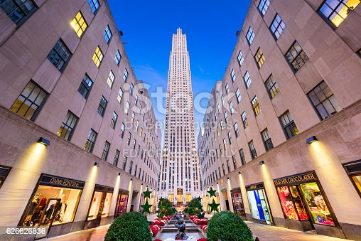 New York City, USA - November 2, 2016: Rockefeller Center in Midtown Manhattan at twilight. The historic landmark building complex was completed in 1939.