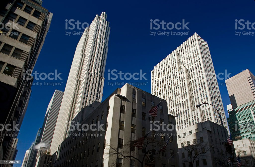 Rockefeller Center, Low Angle View stock photo