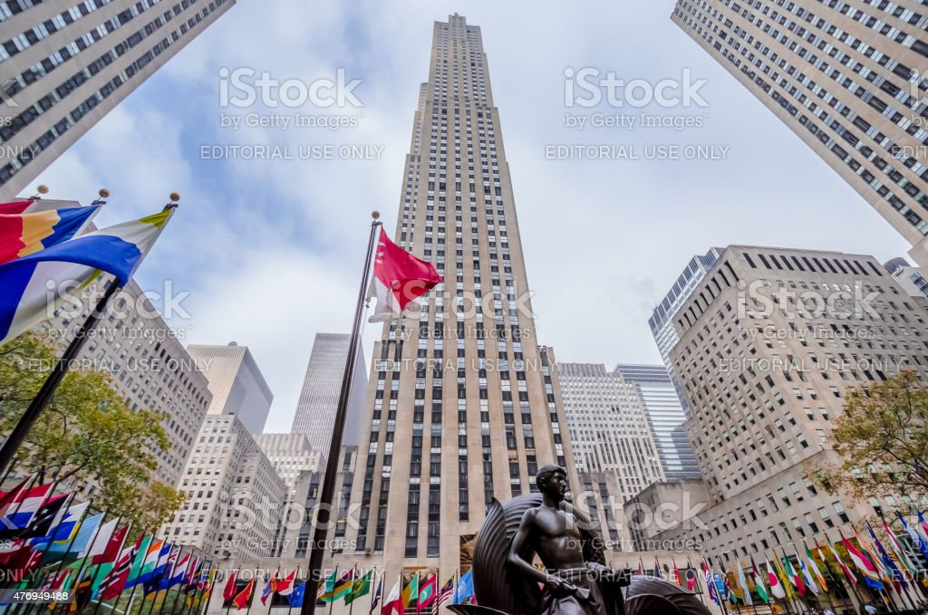 Rockefeller Center with Mankind Figure in the foreground stock photo