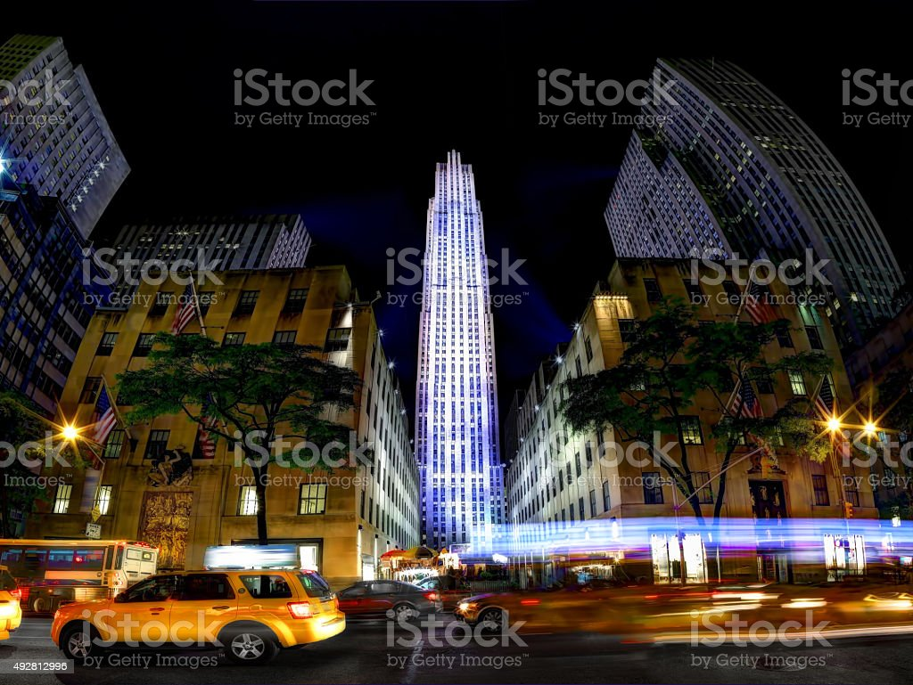 Rockefeller Centre at Night stock photo