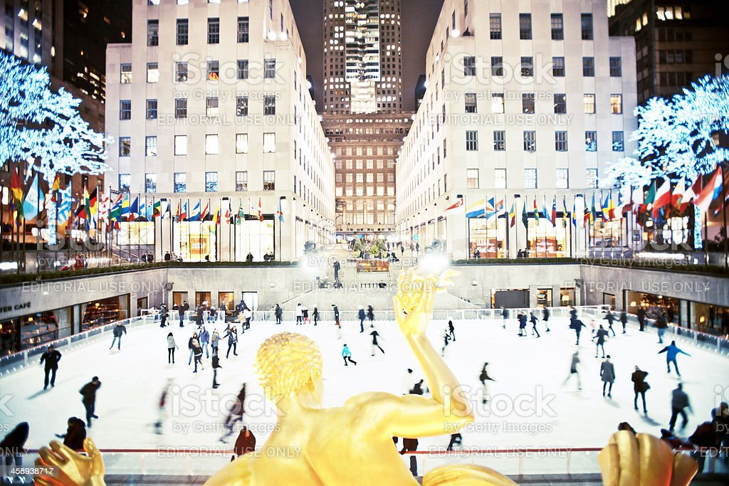 Rockefeller Centre ice skating rink. stock photo